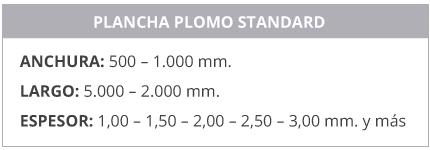 Características plancha de plomo